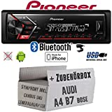 Audi A4 B7 inkl. CanBus Lenkradfernbedienung Symphony Bose - Autoradio Radio Pioneer MVH-S300BT - Bluetooth | MP3 | USB | Android | iPhone 4x50Watt Einbauzubehör - Einbauset