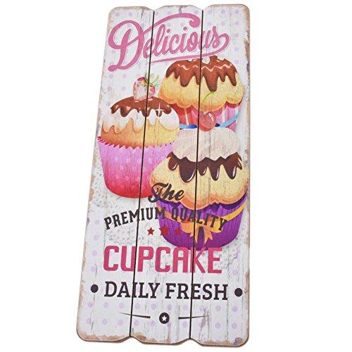 Dadeldo Living & Lifestyle Holzschild Delicious Cupcake Design MDF 34x15cm bunt Wand-Bild Deko