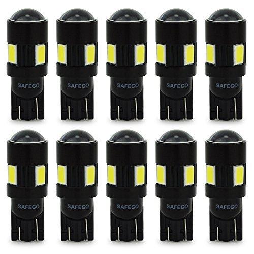 Safego 10 x LAMPADINE T10 W5W LED bianche 194 168 cuneo Tipo 6 SMD 5630 bianco LED luci dell'automobile Bulb 12V diretto Replacment e Reverse Auto RV per Interni Segnale Segnale cuneo Tipo