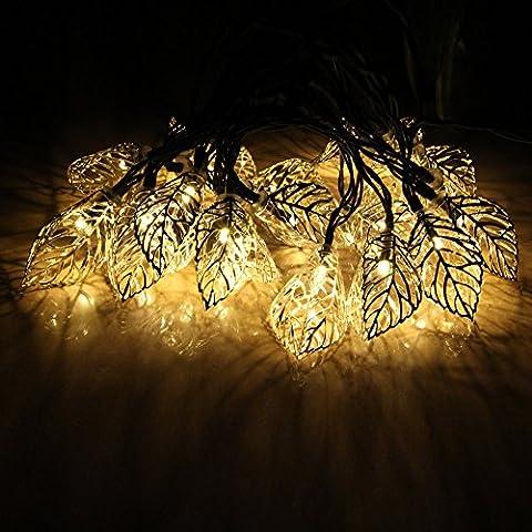 jojoo Guirlande lumineuse solaire Globe Métal lanternes Décoration pour jardin,