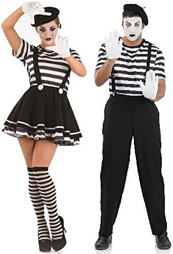 Paar Damen und Herren Französisch Pantomime Künstler theatralisch Performer Zirkus Halloween Kombination Kostüm Party Verkleidung Outfit Klein - Übergröße - Schwarz, Ladies UK 12-14 & Mens Large