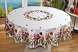 Kamaca Serie TULPEN UND Schmetterlinge hochwertiges Druck-Motiv mit Blumen EIN Eyecatcher in Frühling Sommer (Tischdecke 150 cm rund)