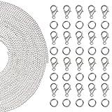 Kurtzy 10 Meter Edelstahl Glieder Kette Schmuckherstellung Set für Halskette, Armbänder mit 30 Karabinerhaken und 30 Spaltringen - 61-teiliges Set zum Basteln von Schmuck wie Halsketten Charms, Anhänger - Karabiner Verschluss, Ringe Biegeringe.
