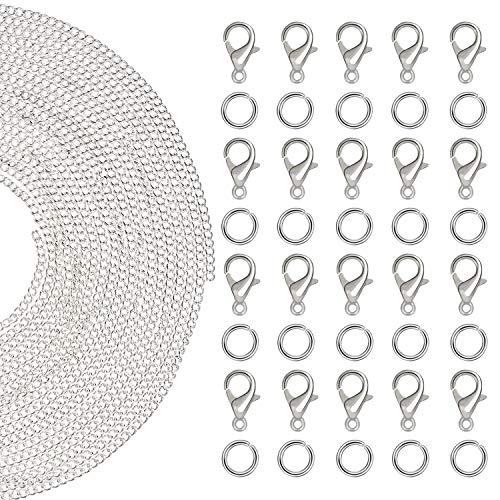 Kettenglieder für die Schmuckherstellung - Packung mit 61 Stck Kabel Kette mit 1.5mm Dicke mit 30 Biegeringe (0.6 cm)und 30 Karabinerverschluss (1.8 cm) für DIY Schmuckherstellung