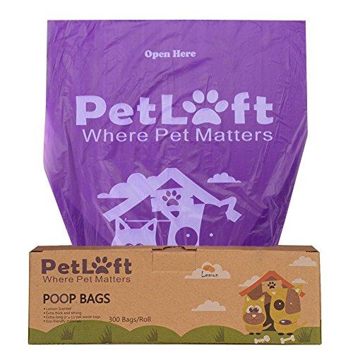 PetLoft Poop-Tasche, 300-Count Zitronenduft Durable Biologisch abbaubare Hundekottasche Poop-Tasche in Gewebe abnehmbares Design - Lila (Zitronenduft) (300 Count Tasche)