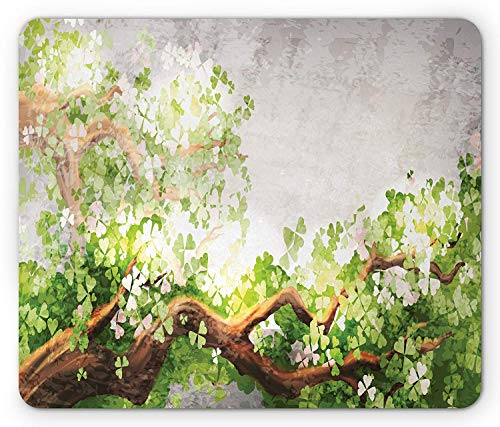 Tree Mouse Pad, Magical Flowering Branches with Clovers Watercolor Effect Brush Marks, Standard Size Rectangle Non-Slip Rubber Mousepad, Fern Green Brown Pale Grey -