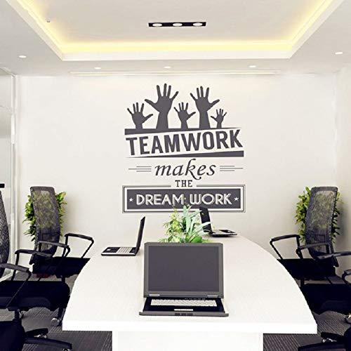 nkfrjz Motivierende Vinyl Art Office Wandaufkleber Aufkleber Wandbild Dekor Aufkleber Teamwork Macht den Traum Arbeit Büro Kreative Wanddekoration 80x100cm -