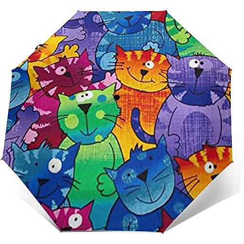 Katzen Hunde Reiseschirm Sonnenschirm-Leichter winddichter Sonnenschirm-Auto-Öffnen und Schließen-Knopf