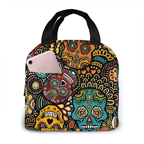 Qing_II Mexikanische Zuckerschädel klein Kühltasche Lunch Tote Cooler Bag Lunch-Taschen Kühltaschen Boxen