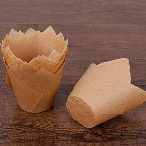 Jaminy 50pcs Tulpe Bakeware Kuchen Papier Tassen Schokolade Cupcake Backen Werkzeug (Khaki) (Schokolade Khaki)