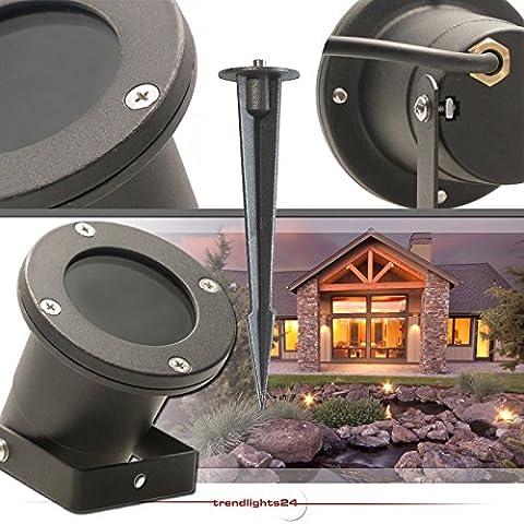 Bodenstrahler GARDENO IP68 inkl. Erdspieß 230V; SMD LED 7,5 Watt DIMMBAR; Kalt-Weiß; Bodenleuchte Gartenstrahler Teichleuchte Außenstrahler Außenleuchte; Leuchtmittel austauschbar