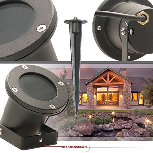 Bodenstrahler GARDENO IP68 inkl. Erdspieß 230V; SMD LED 5,0 Watt; Warm-Weiß; Bodenleuchte Gartenstrahler Teichleuchte Außenstrahler Außenleuchte; Leuchtmittel austauschbar