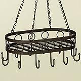 34x22cm Kräuterhänger Topfhänger Wurstkrone Eisen antikbraun Holz Hängekorb *Landhaus Stil*