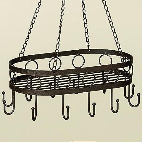 34x22cm Kräuterhänger Topfhänger Wurstkrone Eisen antikbraun Holz Hängekorb *Landhaus Stil* Shabby Chic Landhaus Vintage Nostalgie Küchendeko Küche Utensilo Etagere Dekoration