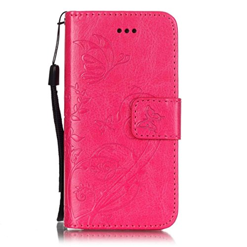iPhone Case Cover Premium PU lederner Fall-Abdeckungs-Folio-Schlag-Standplatz-Fall-prägenblumen-Kasten für iPhone 5S 5 SE ( Color : Brown , Size : IPhone 5S SE ) Rose