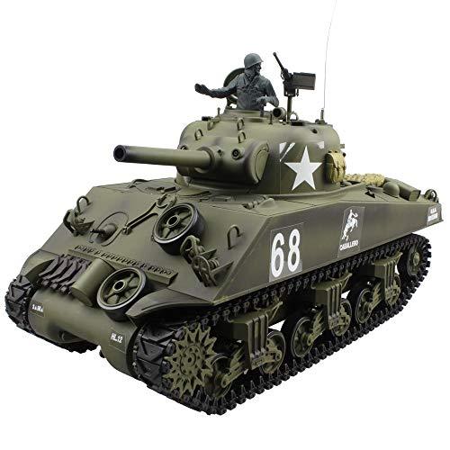 Tanktoyd 2.4Ghz 1/16 Emulational US Sherman M4A3 RC Char de Combat Principal avec fumée et Effet sonore Enfant Cadeau d'anniversaire Collection