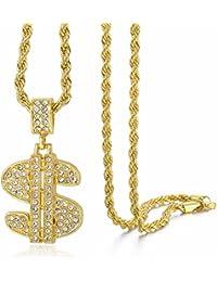 Trendsmax Collar pendiente del símbolo del dólar de los USA Hombre Mujer Oro Amarillo Lleno Piedras de Strass