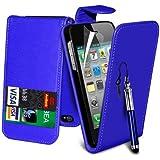 (Blau) Apple iPhone 5/5S Schutzfolie Faux Credit / Debit Card Leder Flip Skin Case Hülle Cover, einziehbare Touchscreen Stylus Pen & LCD-Screen Protector Guard von Spyrox