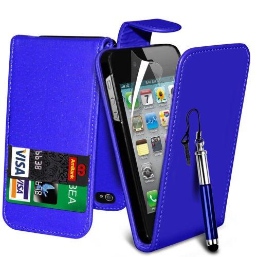 (Schwarz) Apple iPhone 5/5S Schutzfolie Faux Credit / Debit Card Leder Flip Skin Case Hülle Cover, einziehbare Touchscreen Stylus Pen & LCD-Screen Protector Guard von Spyrox Flip + Pen (Blue)