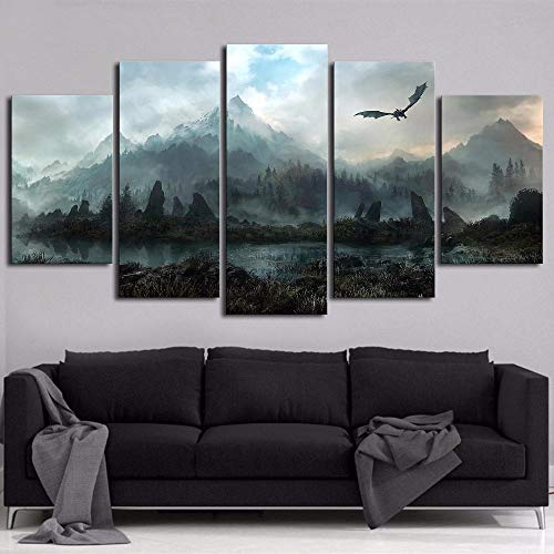 Ughjb 3D Etiqueta De La Pared Desmontable 3D Etiqueta De La Pared Desmontable Canvas Painting Cartoon Game Skyrim Wall Art Printed On Poster For Living Room Home Decorative Framed Ready To Hang 100X55Cm No Frame