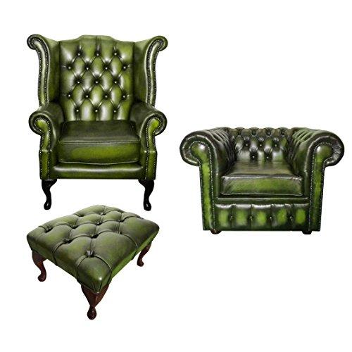 Carpet Kingdom Teppich Königreich Chesterfield Antik Echt Leder Grün Club und Queen Anne-Set mit Hocker -