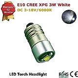Conversión/actualización E10bombilla LED cree linterna frontal linterna frontal Petzl Zoom Duo 3W 200LM 3–18V, color blanco