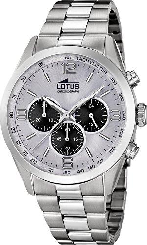 Reloj Lotus caballero crono acero. Esfera blanca 43 mm. W.R. 5 atm