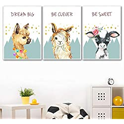 Llama Alpaca Wall Art Print Canvas Painting, Nordic Posters And Prints Animal Wall Pictures Baby Kids Room 50x70cmx3 sin marco