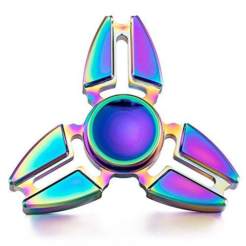 Hand Spinner Toy, Stillshine arco iris de colores de metal de alta velocidad Tri-Spinner juguete Spinner de mano Fidget EDC juguete de oficina para el estrés y alivio de ansiedad (D) - 3