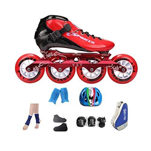 ne-Skates Der Riesenradgeschwindigkeits-Kohlefaser-Kinder, Rot 4 * 100MM Rad Rollerblades Frauen Rosa Roller Derby Skates (Color : Red, Size : EU 31) ()
