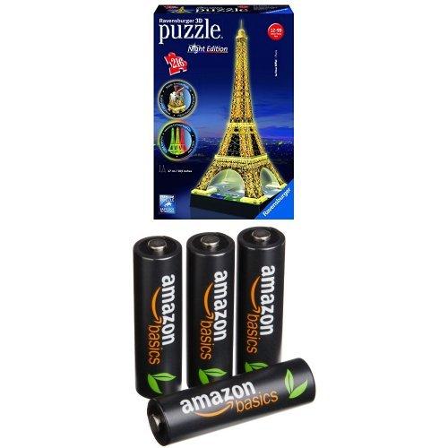 Pack Puzzle 3D - Tour Eiffel De Nuit + 4 Piles AmazonBasics AA Rechargeables
