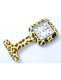 """Bellos Krankenschwester Uhr """"Leopard"""" Weiß Beige Braun Ansteckuhr mit Nadel Damenuhr"""