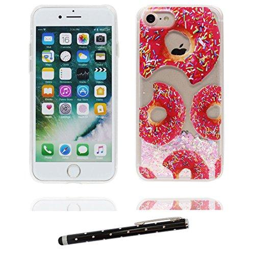 "iPhone 7 Coque, Princesse sirène Skin Hard Clear étui iPhone 7, Design Glitter Bling Sparkles Shinny Flowing Apple iPhone 7 Case Cover 4.7"", résistant aux chocs & stylet Donuts beignet"