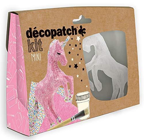 Décopatch KIT009O - Un mini-kit comprenant un animal en papier pulpé blanc, 2 feuilles Décopatch,...