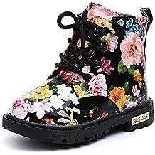 Botas de Nieve de Niñas Más Terciopelo de PU Zapatos de Bebé Imprimiendo Botines Calentar Acogedor