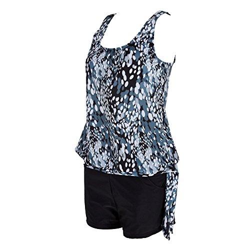 Fannyfuny Oversize Damen Tankini Set Bauchweg Frauen Bauchweg Badebekleidung Zweiteiliger Badeanzug mit Slip, Hotpants oder High Waist Push Up Bikini Set für Große Größe Schwarz S-3XL - 5