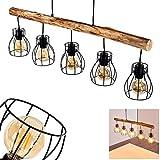 Pendelleuchte Gondo aus Holz/Metall Gitter schwarz, 5-flammige Hängelampe für Wohnzimmer, Esszimmer, Schlafzimmer