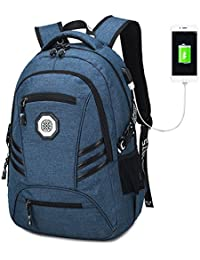 Travel Laptop Backpack, Slim College School Backpack With USB Charging Port Water Resistant Book Bag Business...