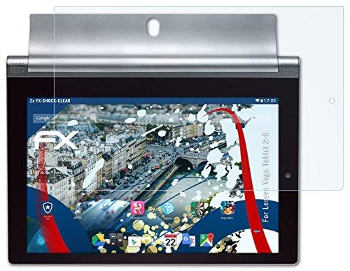 2 x atFoliX Panzerfolie Lenovo Yoga Tablet 2-8 Folie - FX-Shock-Clear ultraklar und stoßabsorbierend