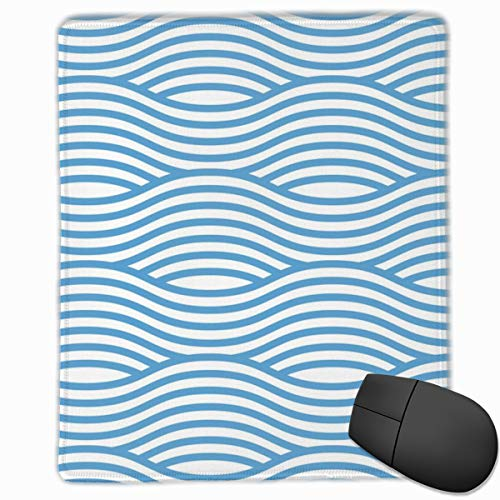 Carolina Blue and White Wave Asian Stripes Mouse Pad Custom Design Gaming Mouse Mat Computer Mouse Pads with Non-Slip Neoprene Backing 9.8 X 11.8 inch (25 X 30 cm) -