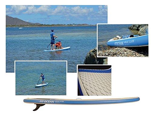 FIT OCEAN MAGIC GLIDE 10'8 aufblasbares Stand Up Paddelboard + Doppelhub-Pumpe + 3-tlg. verstellbares Paddle + guter Rucksack. EINFACHER PADDELN LERNEN: SICHERES STEHEN UND SUPER AUFTRIEB. iSUP 330x81x13cm dicke Militärqualität, sehr steif/ paddeln mit trockenen Füssen -