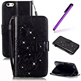 EMAXELERS iPhone 4S Bling Cristall Papillon Protection Étui Coque Flip PU Cuir Folio...