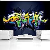 FORWALL Fototapete Vlies - Tapete Moderne Wanddeko Buntes Graffiti auf Marine-Blau V8 (368cm. x 254cm.) AMF1509V8