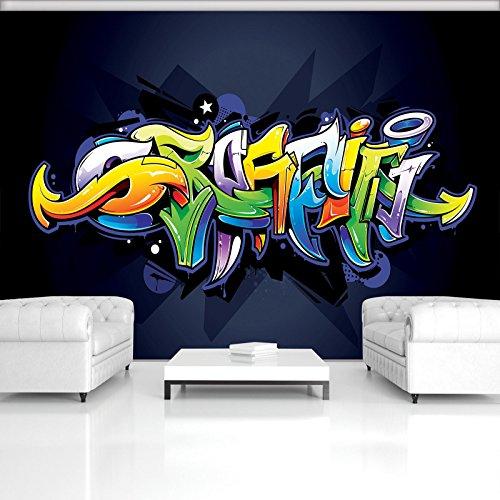Marine-blau-schlafzimmer (FORWALL Fototapete Vlies - Tapete Moderne Wanddeko Buntes Graffiti auf Marine-Blau V8 (368cm. x 254cm.) AMF1509V8 Wandtapete Design Tapete Wohnzimmer Schlafzimmer)