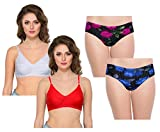IndiWeaves Womens Cotton 2 Bra and 2 Panty(Pack of 4)_White::Red::MultiColor_28