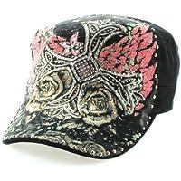Strass Tattoo Army Cap a forma di croce con rose in nero con Strass decorativi (Croce Cap Hat)