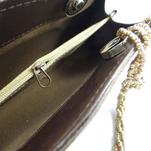 Traditionelle Brown EmbroidePurse-Abend-Partei-Handtasche Designer Clutch Indien Braun