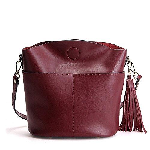 Tibes Sac à bandoulière pour femme simple Fashion Crossland Tassel Bag Rouge