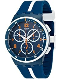 Swatch 'Whitespeed' Quartz Plastic and Silicone Casual Watch, Color:Blue (Model: SUSN403)
