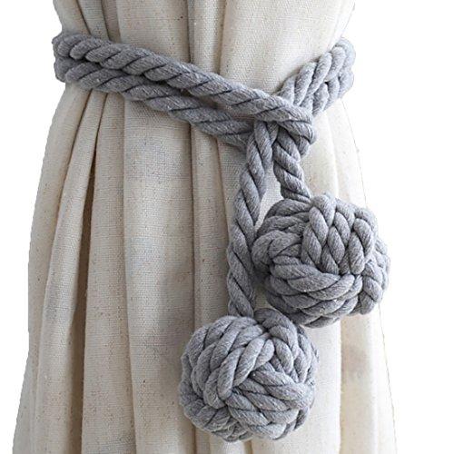 LissomPlume 2pcs Rustique Embrasses à Rideaux Avec 2 Pompons Crochet/Pince/Boucle à Rideaux Tricot Corde gris